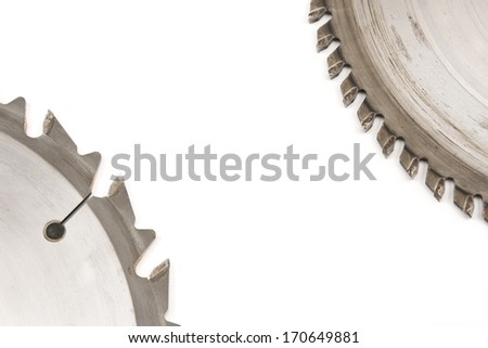 Circular Saw blades on white background.