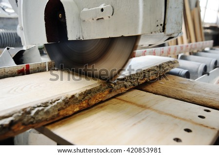 circular saw close-up.carpenter working in a carpentry workshop.