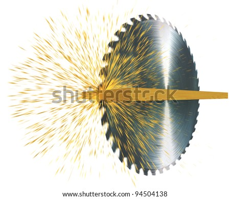 circular saw cuts wood, 3d render isolated on white - stock photo