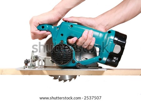 Circular Saw - Isolated on White - stock photo