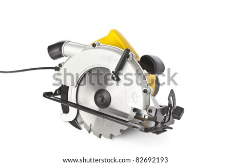Circular saw on a white background - stock photo