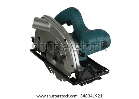 Circular saw on white background isolated in Studio - stock photo