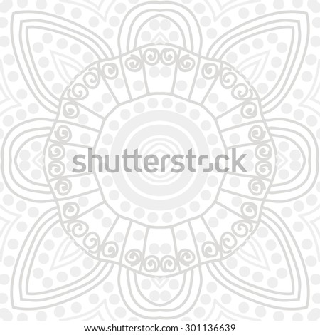 Circular seamless  pattern of decorative flower, doodles, ellipses, stripes, spirals. Hand drawn.