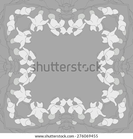 Circular  seamless pattern of decorative motif, garland, copy space. Hand drawn.