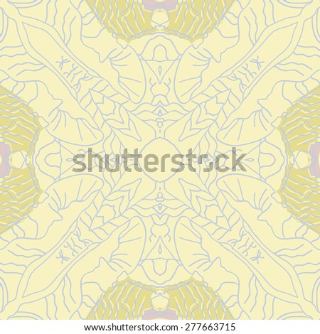 Circular seamless pattern of decorative motif, stripes, spots. Hand drawn.