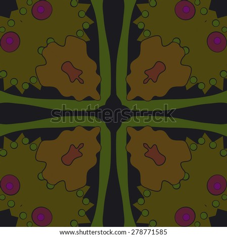 Circular  seamless pattern of  floral motif, ellipses,spots. Hand drawn.