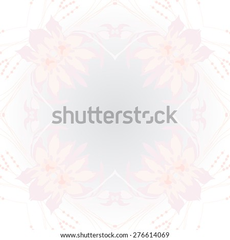 Circular seamless pattern of floral motif, flowers, leaves, branches, copy space. Hand drawn.