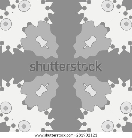 Circular  seamless pattern of  floral motif,  spots, hole,ellipses, copy space. Hand drawn.