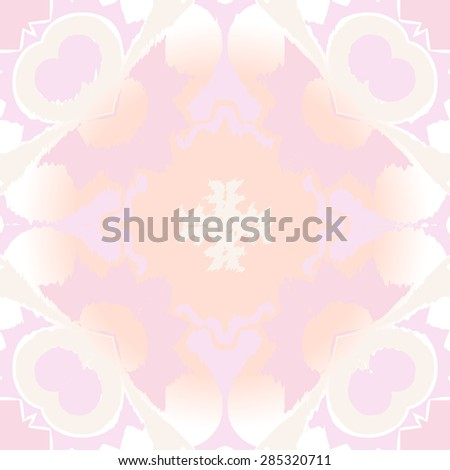 Circular  seamless pattern of  floral motif, spots,  zigzag, cross, hole. Hand drawn.