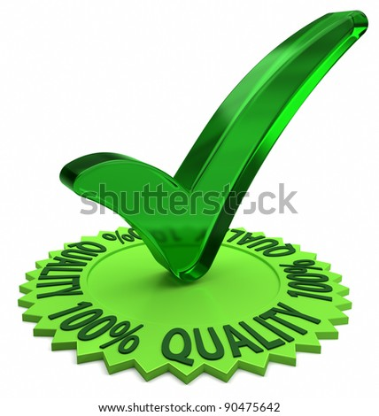 Circular shaped 3D text around a green check mark. Part of a series. - stock photo