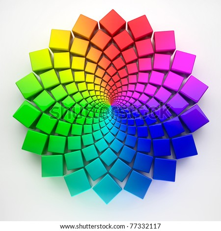circular spectrum pattern 3D - stock photo