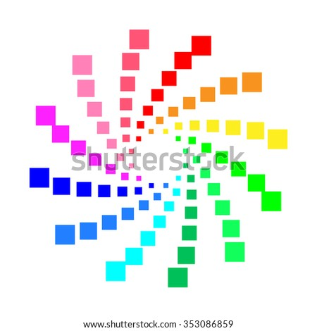 Circular spectrum pattern on white background. - stock photo