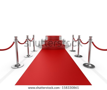 Circular stage with red carpet - stock photo