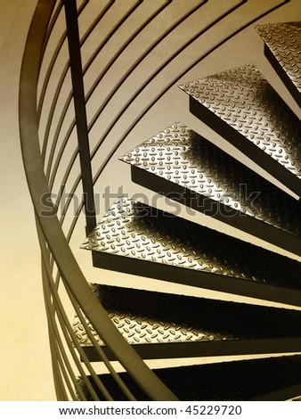 Circular steps and rail with sepia toning - stock photo