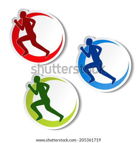 circular stickers of fitness - runner silhouette - stock photo