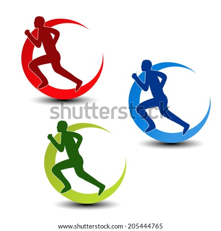 circular symbol of fitness - runner silhouette - stock photo