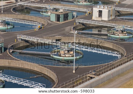 Circular water treatment pool. - stock photo