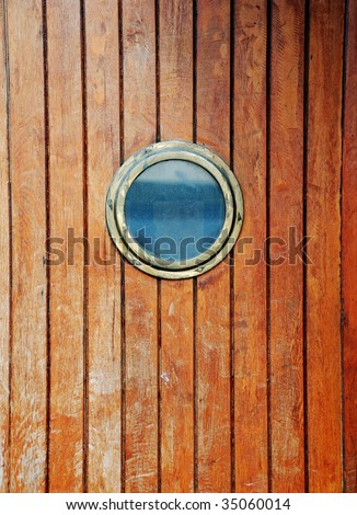 circular window on a timber door of a boat & Circular Window On Timber Door Boat Stock Photo 35060014 ... Pezcame.Com