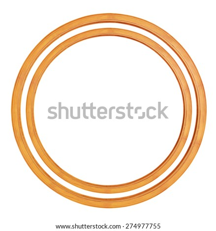 Circular wooden frame isolated - stock photo