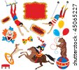 Circus acts clip art party icons isolated on white - stock vector