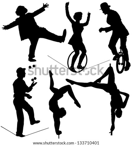 Circus Artist Silhouette on white background. Raster version with clipping paths - stock photo