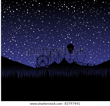 circus at night as a silhouette with stars - stock photo