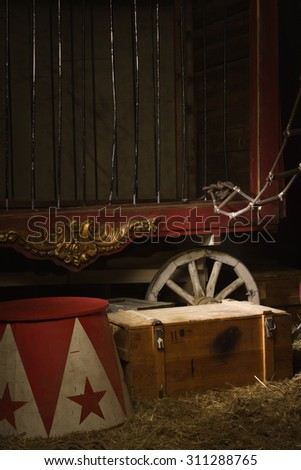 Circus backstage in retro style - stock photo