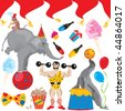 Circus Birthday Party Clip art elements isolated on white - stock photo