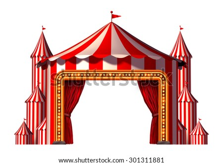 Circus blank space stage tent design element as a group of big top carnival tents with a red curtain opening entrance as a fun entertainment icon for a party festival isolated on a white background. - stock photo