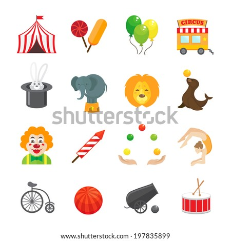 Circus caravan rabbit elephant tricks and magical hat hocus pocus performance funny color icons set isolated  illustration - stock photo