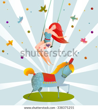 Circus Carnival Show Vintage Poster with Girl and Pony Horse. Fun and cute performance vintage cartoon card. Raster variant. - stock photo