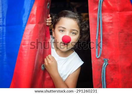 Circus clown child girl artist - stock photo