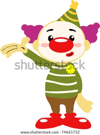 Circus clown waving hello to the world - stock photo