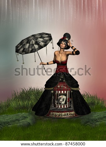 circus doll with umbrella and eccentric dress - stock photo
