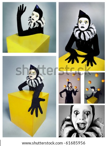 Circus fashion mime posing near a yellow square. Collage from 6 photos. - stock photo