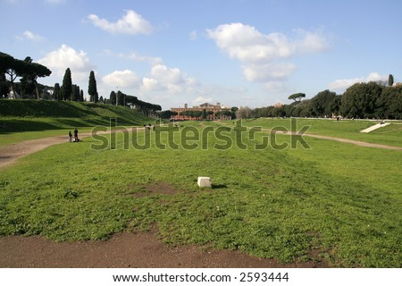 Circus Maximus: ancient Roman stadium near the site of birthplace of Rome, the Palatine hill - stock photo