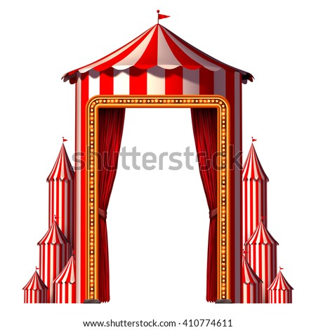 Circus tent concept in a vertical carnival composition as an entertainment and amusement symbol for a festive special event celebration with blank space isolated on a white as a 3D illustration. - stock photo