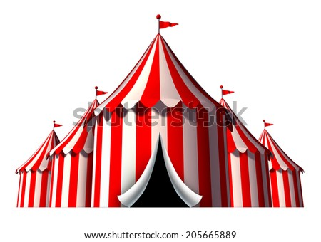 Circus tent design element as a group of big top carnival tents with an opening entrance as a fun entertainment icon for a theatrical celebration or party festival isolated on a white background. - stock photo