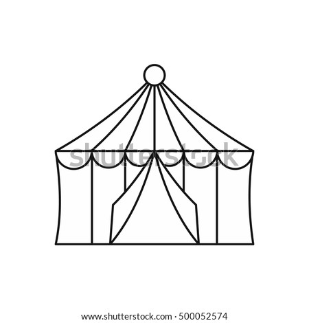 Circus tent icon in outline style isolated on white background illustration  sc 1 st  Shutterstock & Circus Tent Icon Outline Style Isolated Stock Illustration ...