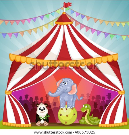 Circus tent with animals - stock photo