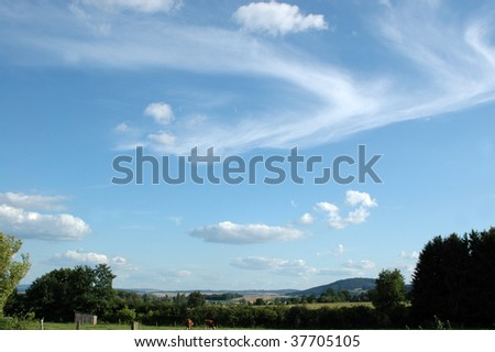 Cirrus and cumulus clouds. - stock photo