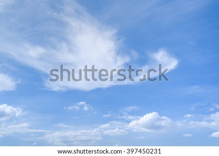 Cirrus and Cumulus clouds in blue summer sky natural background - stock photo
