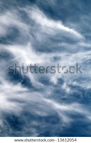 Cirrus (Ci), Cirrostratus (Cs) and Cirrocumulus (Cc) on the sky, clouds texture, natural background, - stock photo
