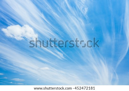 Cirrus clouds in blue windy sky, natural background photo