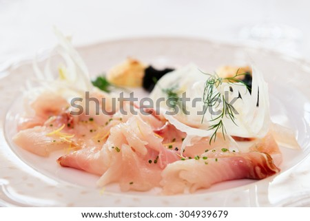 Cisco (vendace) fish fillet, sliced - stock photo