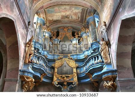 Cistercian church in Poland.Baroque facade. City Jedrzejow near the Krakow. - stock photo