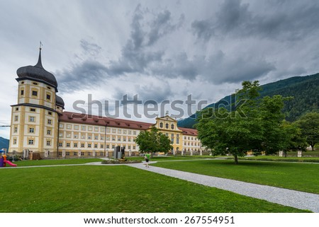 Cistercian Stams Abbey (Stift Stams), founded in 1273 by Count Meinhard II of Gorizia-Tyrol and his wife in Imst, Sonnenplateau, western Innsbruck, Austria - stock photo