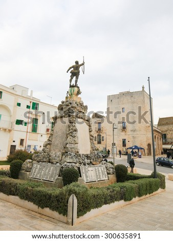 CISTERNINO, ITALY - MARCH 15, 2015: World War II monument in Cisternino, a comune in the province of Brindisi in Puglia, South Italy - stock photo