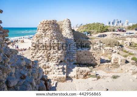 Citadel Ashdod (Ashdod-Sea, also known as Minat al-Qal'a), an archaeological site on the coast of the Mediterranean Sea. Ashdod, Israel, June 2016.