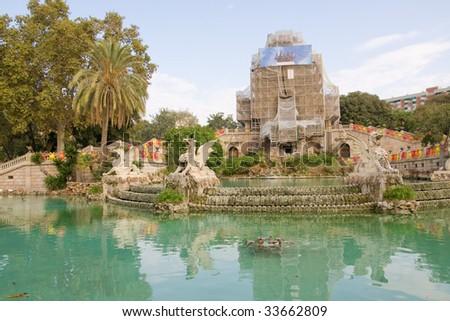 Citadel park cascades in Barcelona, Spain - stock photo